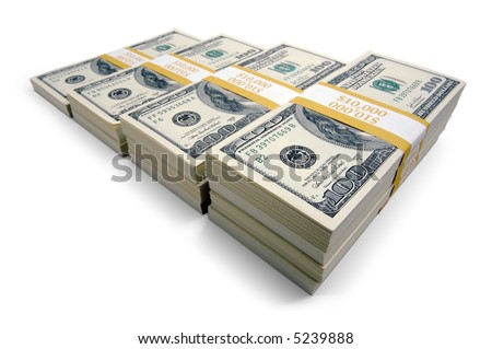 Increasing Stacks of Hundred Dollar Bills on a white background.