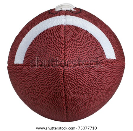 Incredible detailed view down the nose of a leather football. - stock photo