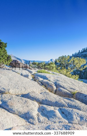 Incredible Mountain Rock Formations In the World Famous Yosemite National Park in California, United States. Vertical Image - stock photo
