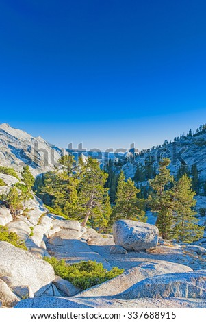 Incredible Mountain Rock Formations In the World Famous Yosemite National Park in California, United States. Vertical Shot. HDR Image - stock photo