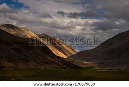 Incredible scenic view of high mountain path in Ladakh range, Leh district, Jammu & Kashmir, Northern India