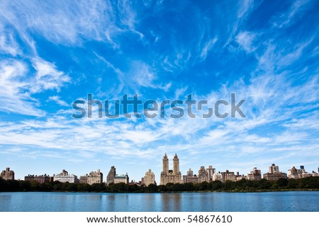 Incredible view of New York city skyline from Central park - stock photo