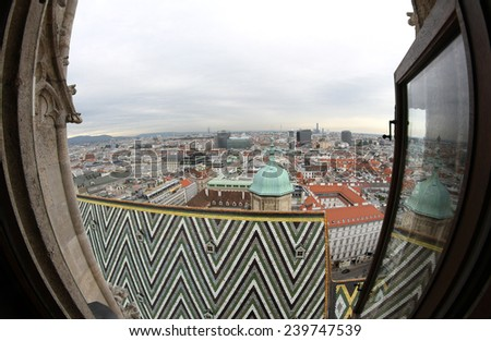 Incredible view of the city from the Bell Tower of the Cathedral of St. Stephen in Vienna in austria - stock photo