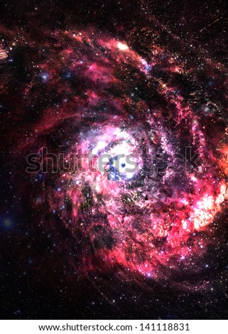 Incredibly beautiful spiral galaxy somewhere in deep space