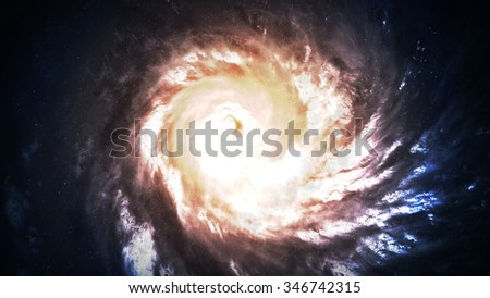 Incredibly beautiful spiral galaxy somewhere in deep space. Elements of this image furnished by NASA. - stock photo