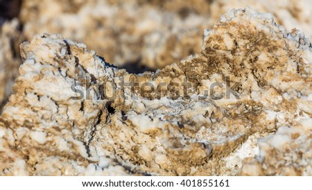 Incredibly serrated spires of salt. Wind and rain sculpt the salty spires into fascinating shapes. Salt has created complex structures. Devil's Golf Course, Death Valley National Park - stock photo