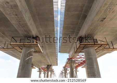 Incremental launch is a recent method of building a complete bridge deck from one end of the bridge only. - stock photo