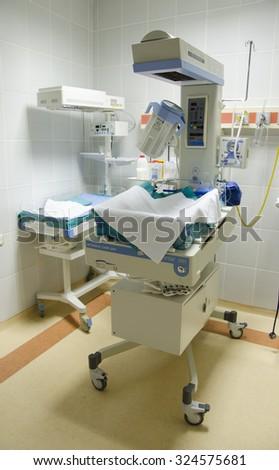 incubator, newborn - stock photo