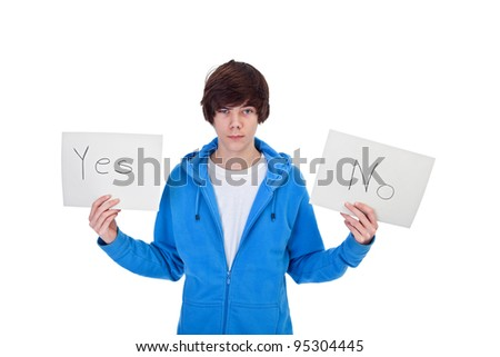 Indecision concept - teenager boy with choices, isolated - stock photo