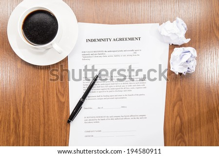indemnity agreement - stock photo
