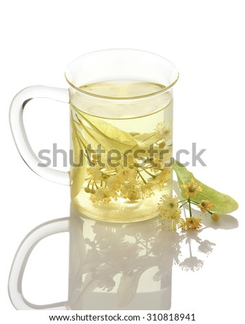 inden tea in cup of glass on a white background isolate - stock photo