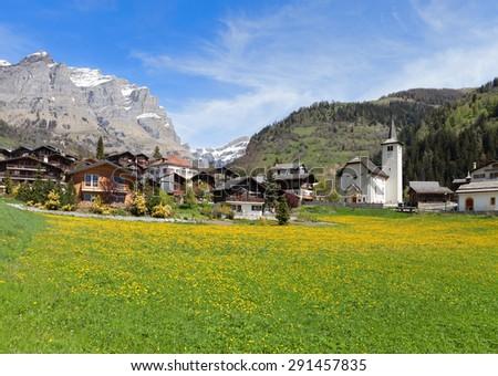 Inden village in sunny day, canton of Valais, Switzerland. - stock photo