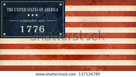 Independence Day background where in the flag of the USA the star field is replaced by the wording: The United States of America independent since 1776. Vector available. - stock photo