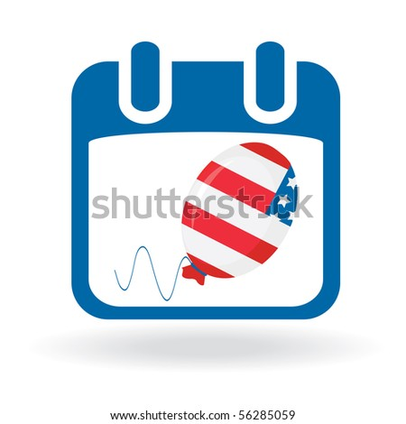 Independence Day - Calendar with balloon - stock photo