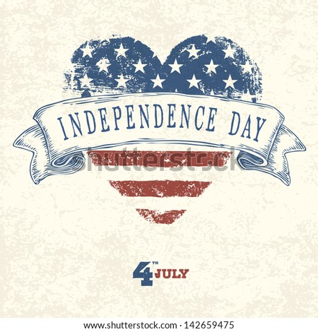 Independence day card concept. Raster version, vector file available in portfolio. - stock photo