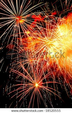 Independence Day celebration fireworks explosion on the night sky - stock photo
