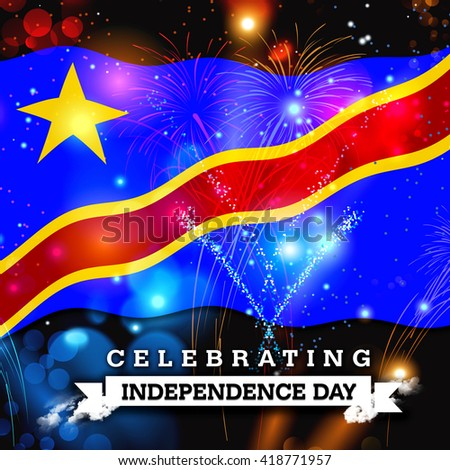 Independence Day Fireworks Democratic Republic Congo Stock - Congo independence day