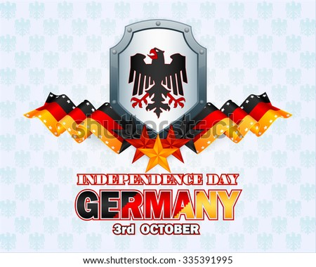Independence day layout template with riveted metallic shield, and black, red and gold colors for German national flag on coat of arms pattern background for Third of October, Germany Independence Day - stock photo