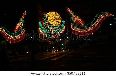 Independence Day lights, night traffic,  Zocalo,   Mexico - stock photo