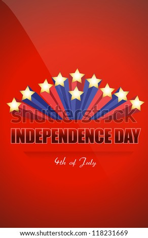 independence day star illustration design over a red background - stock photo
