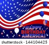 """Independence Day. Text """"Happy Birthday America"""" and balloons with the pattern of the American flag. Raster version. - stock photo"""