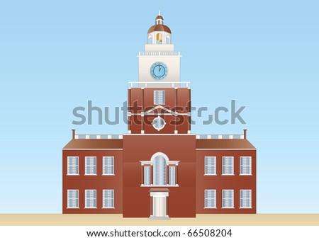 independence hall in Philadelphia - stock photo