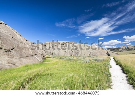 Independence Rock formation along the Oregon Trail. Wyoming. USA