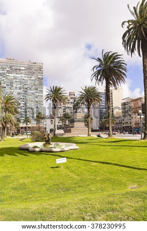 Independence Square in Montevideo, Uruguay It is the city center, with statue of Artigas, the Gate of the Citadel, Executive Tower government Palacio Estevez - stock photo