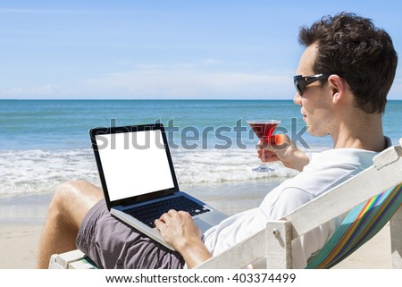 stock photo independent freelancer writing emails on tropical beach with a cocktail in the hand 403374499 The advantages and disadvantages of dual research
