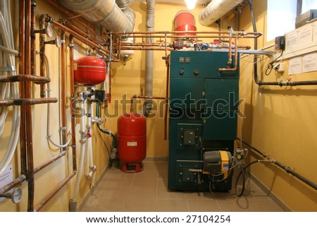 independent heating in a modern house - stock photo