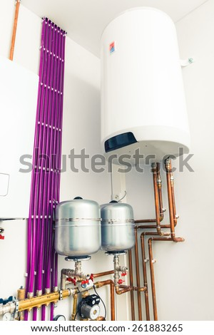 independent heating system with boiler - stock photo
