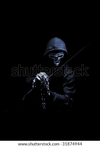 indestructible warior with metal fist - stock photo