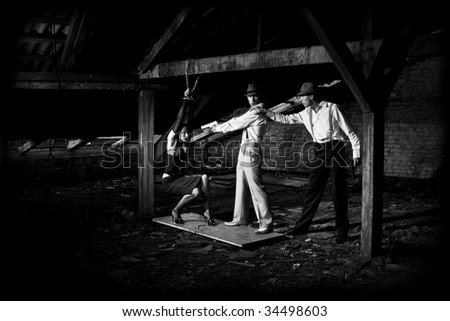indetermination in organized crime - stock photo