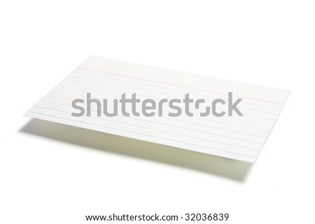 Index File Card on White Background - stock photo