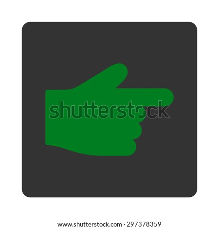 Index Finger icon from Primitive Buttons OverColor Set. This rounded square flat button is drawn with green and gray colors on a white background.