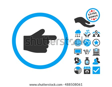 Index Finger icon with bonus icon set. Glyph illustration style is flat iconic bicolor symbols, blue and gray colors, white background.