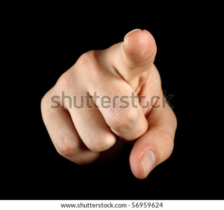 Index finger on black background