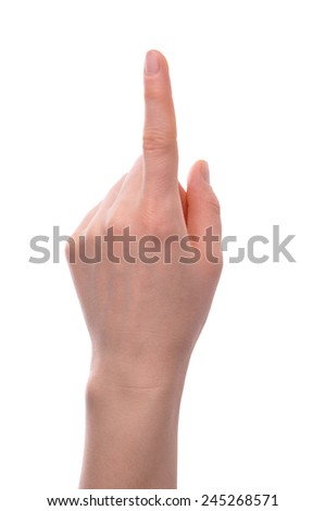 Index finger pointing isolated over white background