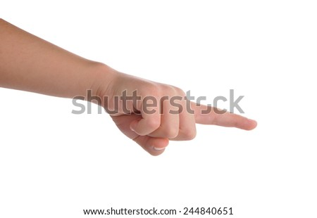 Index finger pointing isolated over white with clipping path included - stock photo