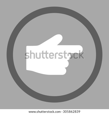 Index Finger raster icon. This rounded flat symbol is drawn with dark gray and white colors on a silver background.