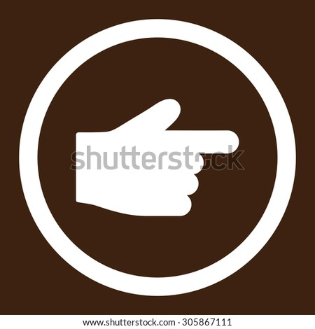 Index Finger raster icon. This rounded flat symbol is drawn with white color on a brown background.