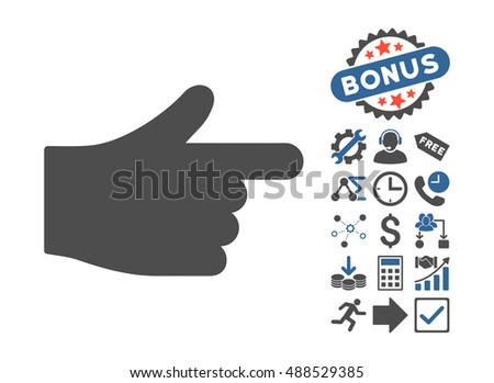 Index Hand icon with bonus elements. Glyph illustration style is flat iconic bicolor symbols, cobalt and gray colors, white background.