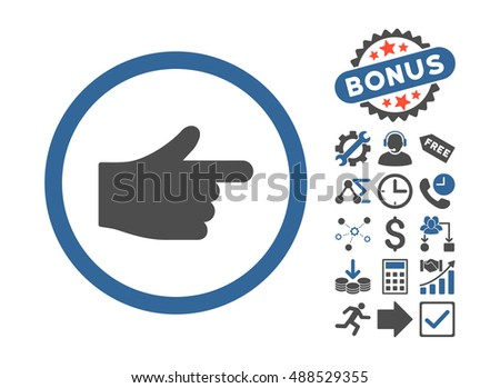 Index Pointer pictograph with bonus clip art. Glyph illustration style is flat iconic bicolor symbols, cobalt and gray colors, white background.