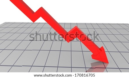 index red goes down - loss money - stocks - stock photo