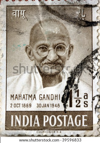 INDIA - 1948: An Indian postage stamp of Mahatma Gandhi, circa 1948 - stock photo