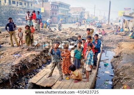 India, Bihar state, Patna, 11 december 2007, Slums Patna, Bihar - stock photo