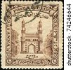 INDIA - CIRCA 1934: A stamp printed in Hyderabad shows Charminar, the literal translation - The Mosque  of Four Minarets or Four Towers, Andhra Pradesh, circa 1934 - stock photo