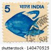 INDIA - CIRCA 1976: A stamp printed in India shows fish and shrimp, circa 1979 - stock photo