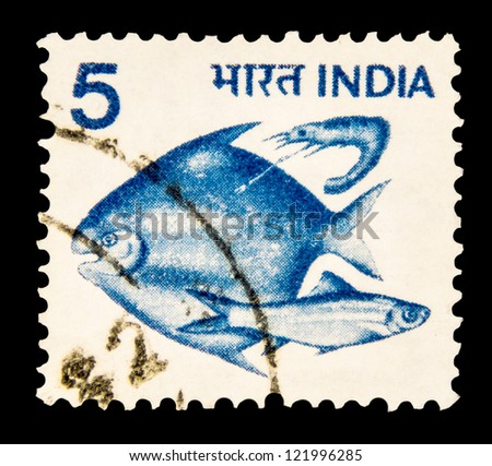 "INDIA - CIRCA 1979: A stamp printed in India shows fishes, without inscription, from the series ""Crops and Farming"", circa 1979 - stock photo"