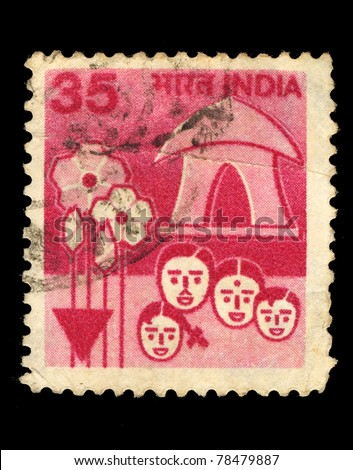 INDIA - CIRCA 1980: A stamp printed in India shows Iimage of the Indian family, circa 1980